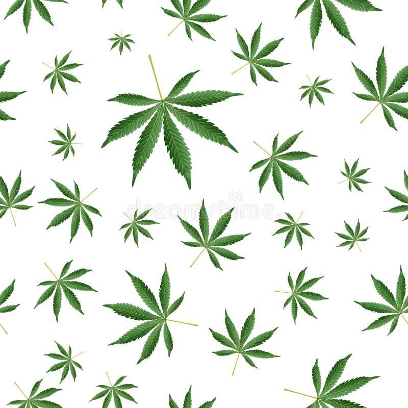 大麻背景 大麻Ganja杂草大麻生叶无缝的传染媒介样式 向量例证