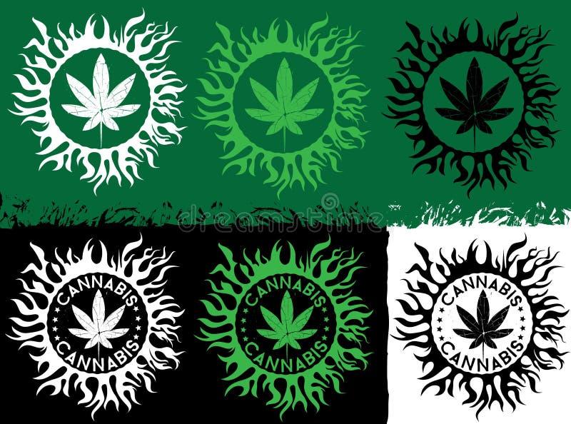 大麻绿色叶子象邮票有有机纹理背景 库存例证