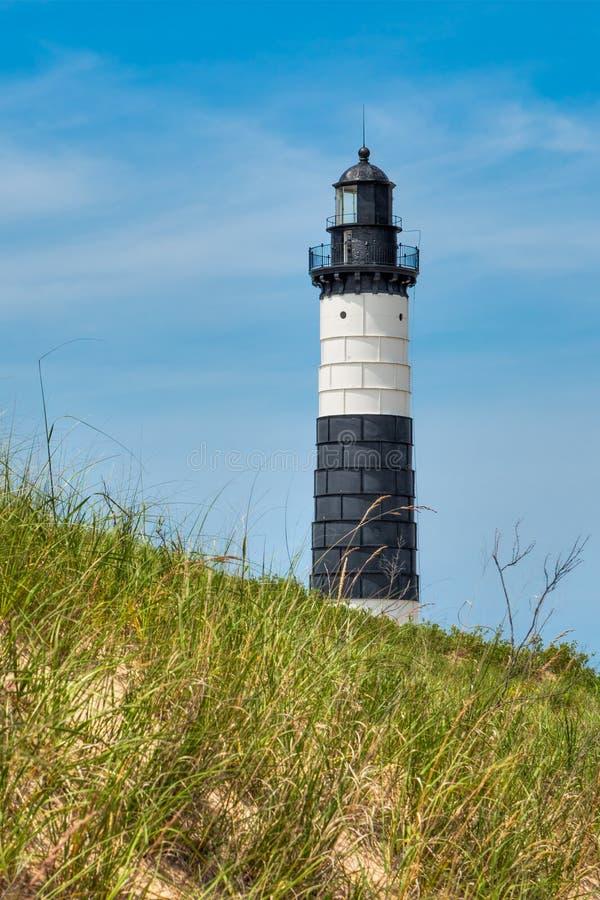 大黑貂点灯塔和沙丘 库存照片