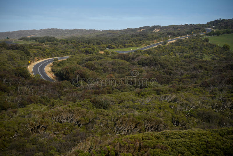 大洋路,澳大利亚的弯曲道路 库存照片