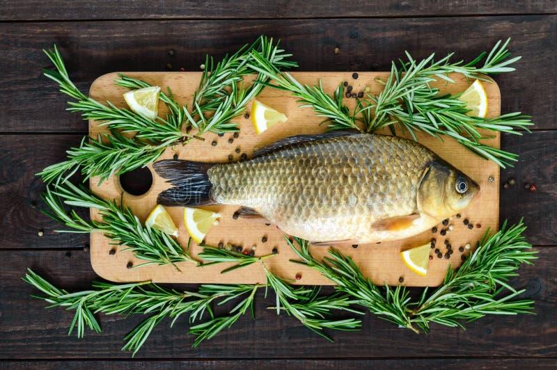 大活鲤鱼crucian在一个切板用迷迭香分支 免版税库存照片