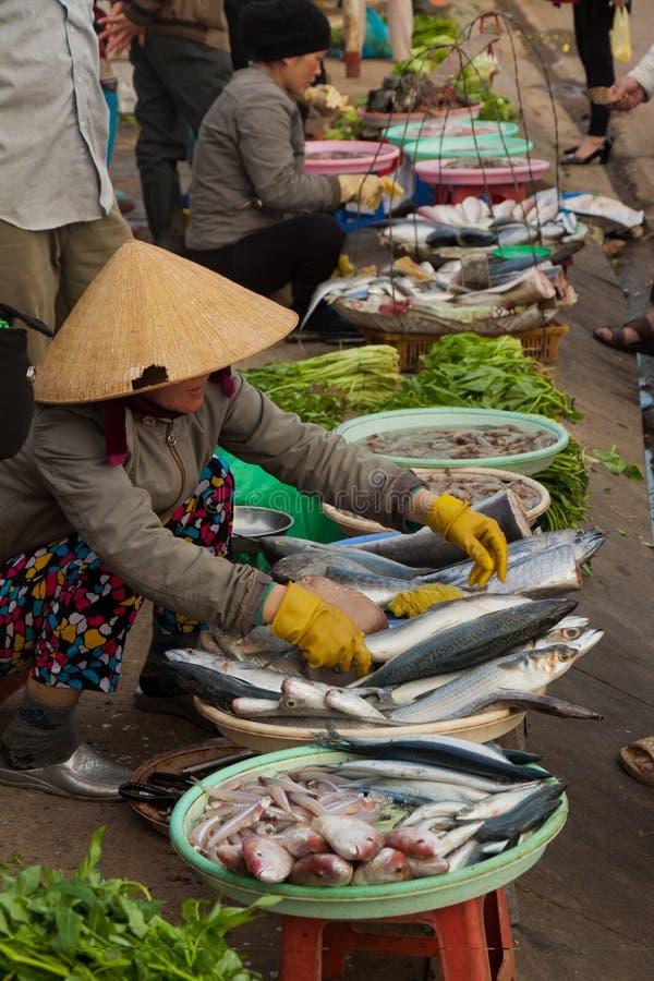 大叻,街道脚,地方鱼andvegetable市场在越南 免版税图库摄影