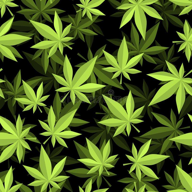 大麻3D无缝的样式 大麻纹理 ganja装饰品 库存例证