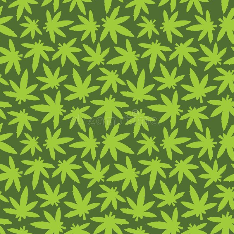 大麻ganja杂草无缝的传染媒介样式绿色 皇族释放例证
