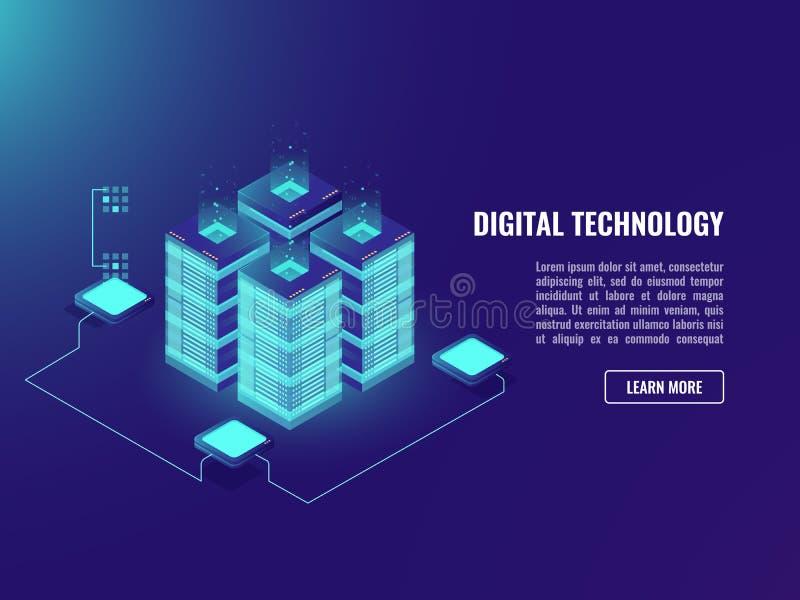 大datacenter,处理数据概念,服务器室,云彩储存工艺blockchain氖的等量传染媒介 库存例证