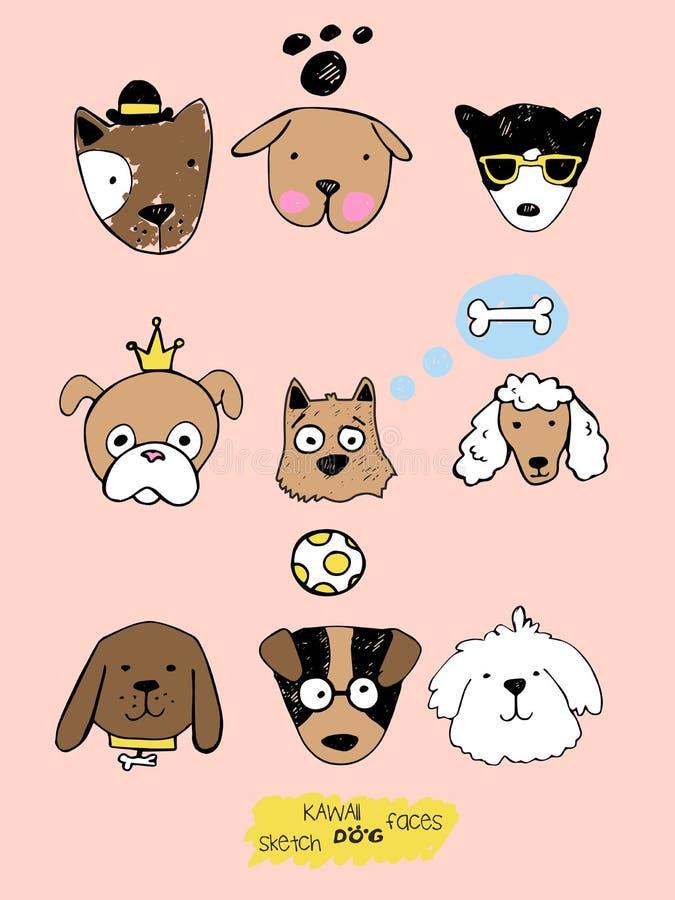 大kawaii套乱画逗人喜爱的甜狗,clipart汇集,用不同的情感的狗面孔,意思号,面带笑容 库存例证