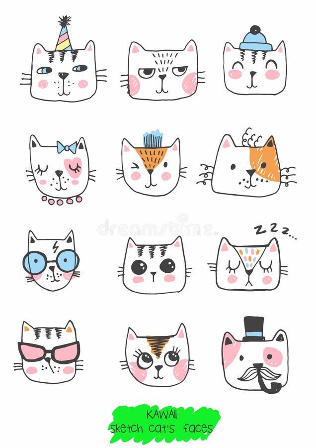 大kawaii套乱画逗人喜爱的甜猫,剪影字符,手拉,猫面孔ith不同的情感,意思号,面带笑容 向量例证