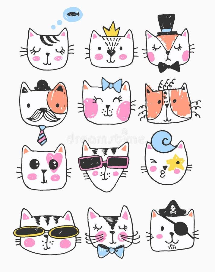 大kawaii套乱画逗人喜爱的甜猫,剪影字符,手拉,猫面孔ith不同的情感,意思号,面带笑容 皇族释放例证