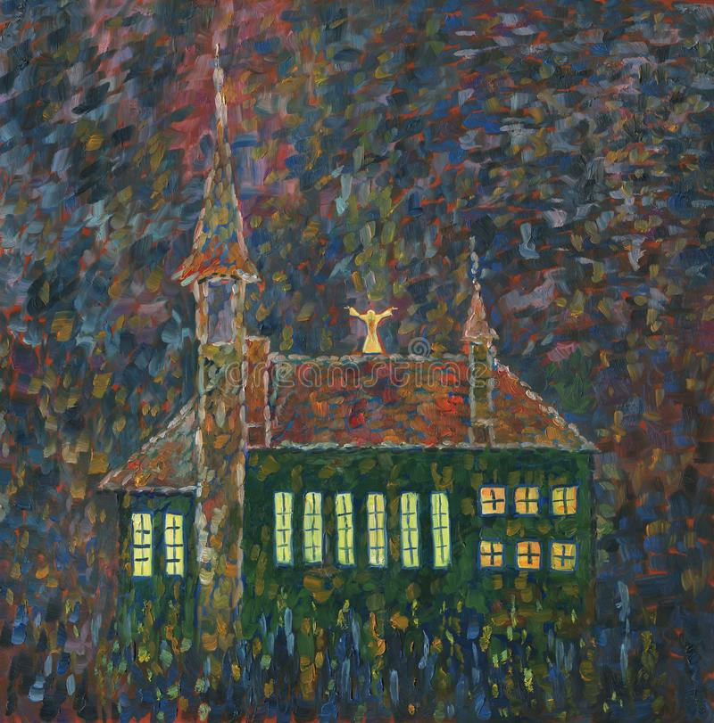 天主教会在晚上 森林横向油画河 皇族释放例证