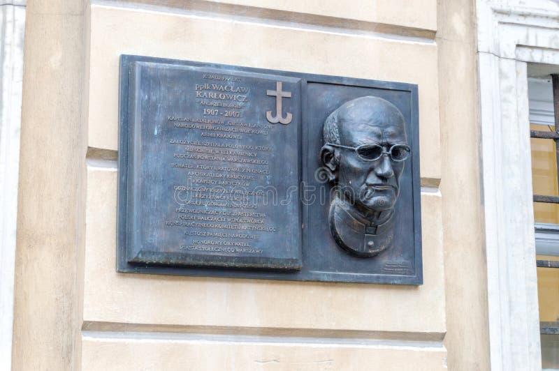 天主教教士的Waclaw Karlowicz纪念匾 免版税库存图片
