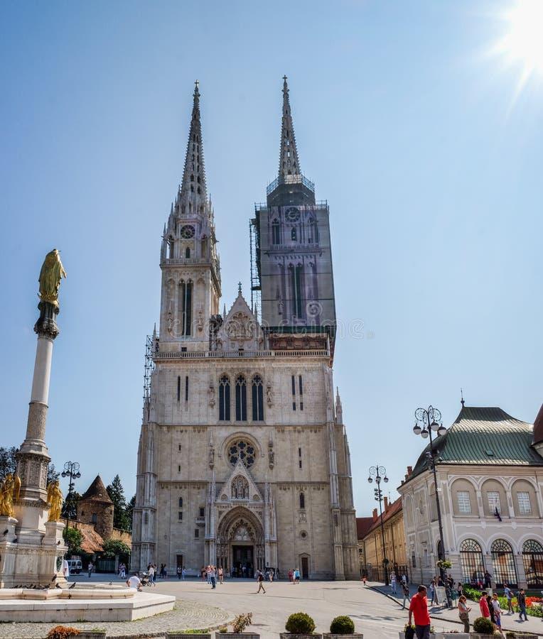天主教萨格勒布大教堂大全景Kaptol的 免版税库存图片