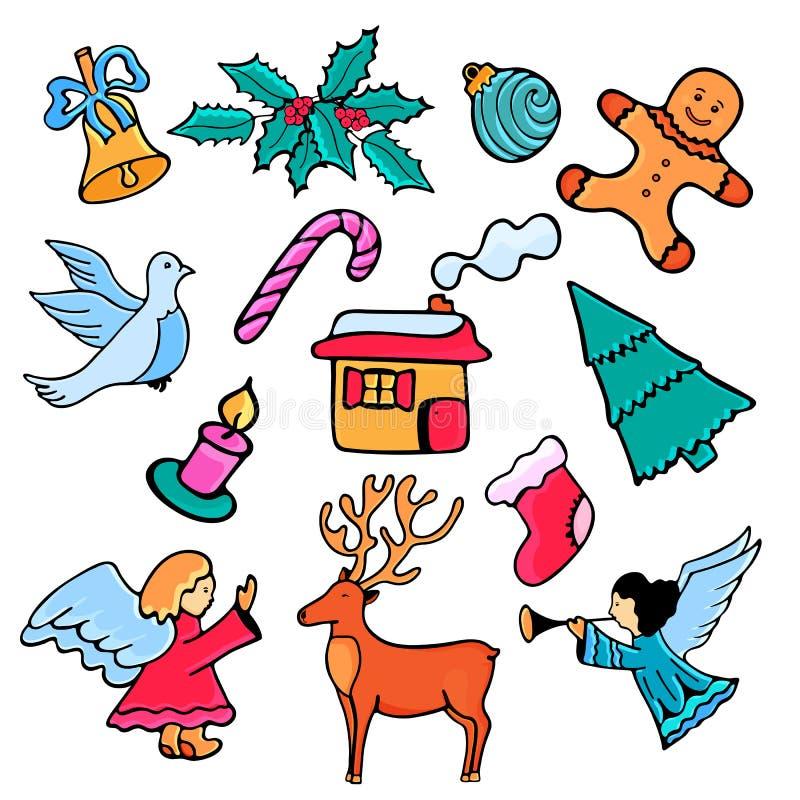 天使、槲寄生、姜饼人和房子,云杉,鹿 欢乐在乱画的设计新年2019年和圣诞节 库存例证