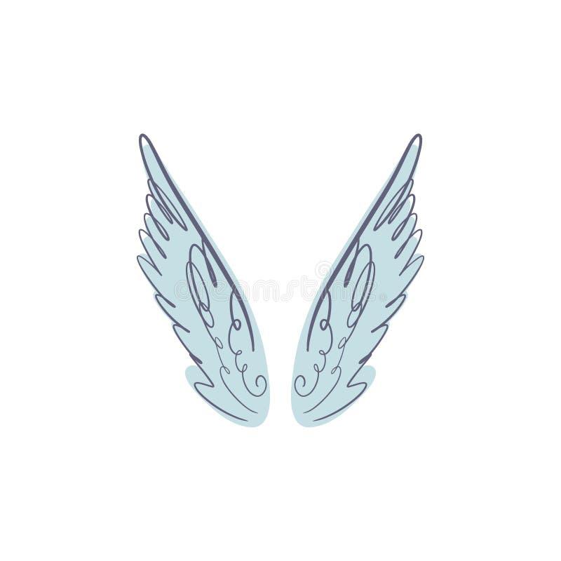 天使、鸟或者佩格瑟斯粉色翼 葡萄酒淡色元素 幻想例证 临时纹身花刺或贴纸 皇族释放例证