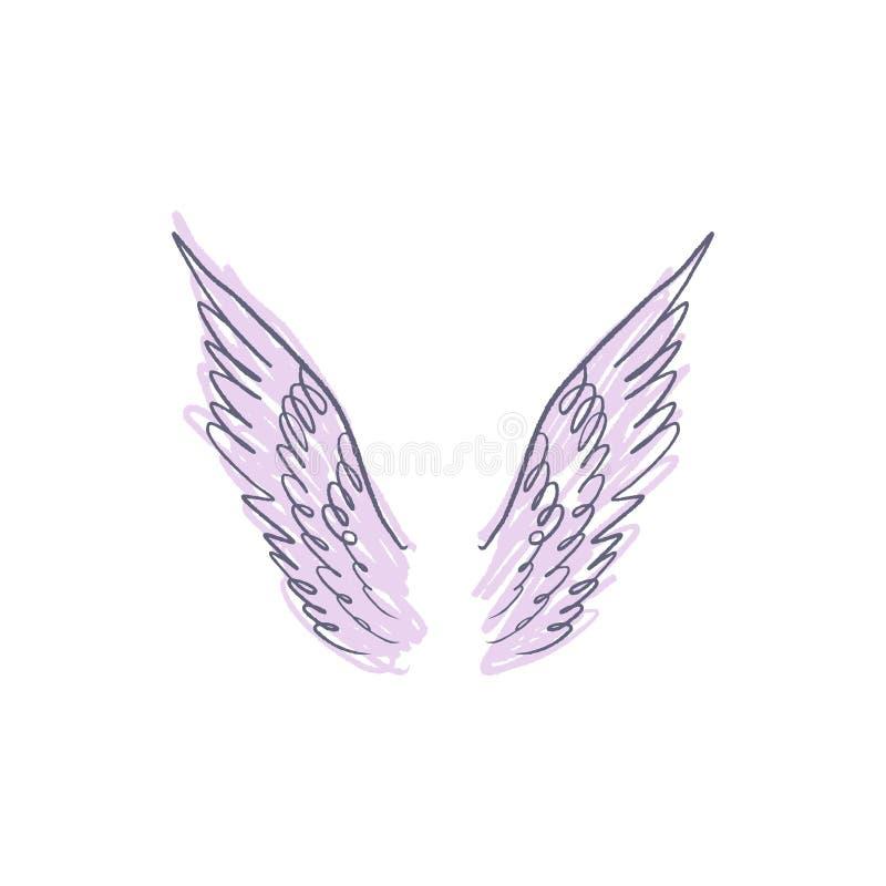 天使、鸟或者佩格瑟斯粉色翼 葡萄酒淡色元素 幻想例证 临时纹身花刺或贴纸 向量例证