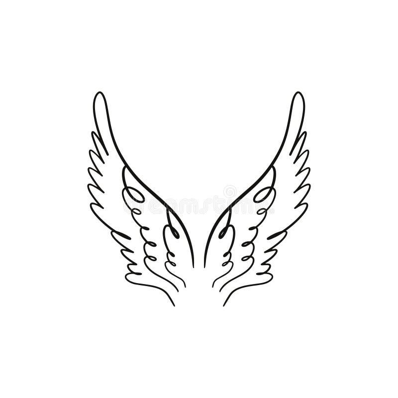 天使、鸟或者佩格瑟斯粉色翼 葡萄酒要素 幻想例证 临时纹身花刺或贴纸 向量例证