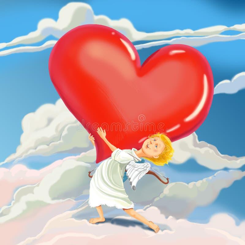 天使丘比特带来爱的心脏 库存例证