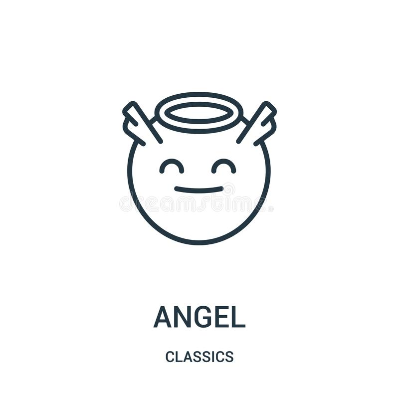 天使从经典之作汇集的象传染媒介 稀薄的线天使概述象传染媒介例证 线性标志 皇族释放例证