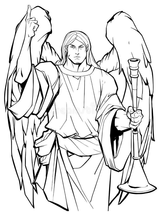 天使加百利线艺术 皇族释放例证