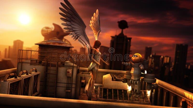 天使和一点机器人在未来派城市日落 向量例证