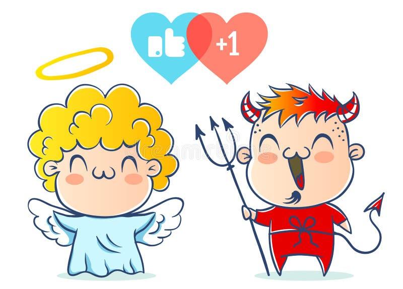 天使和恶魔 向量例证
