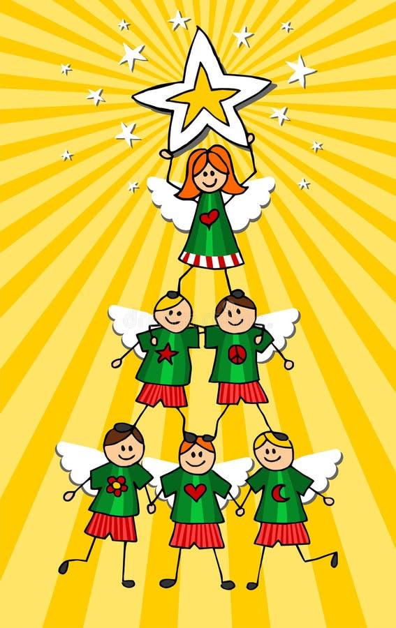 天使圣诞树 库存例证