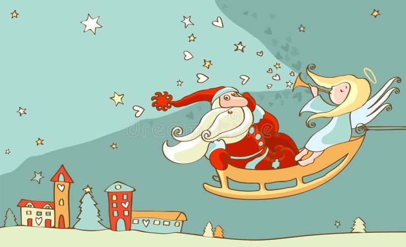 天使圣诞节克劳斯・圣诞老人雪橇 库存例证