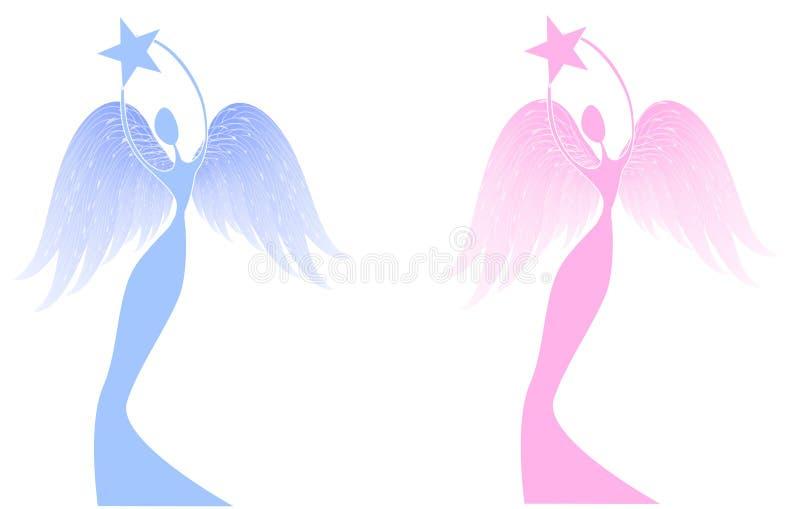 天使圣诞节藏品星形 向量例证