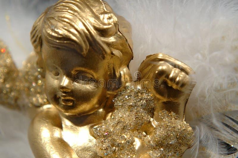 天使圣诞节金黄装饰品第v部分 免版税库存图片
