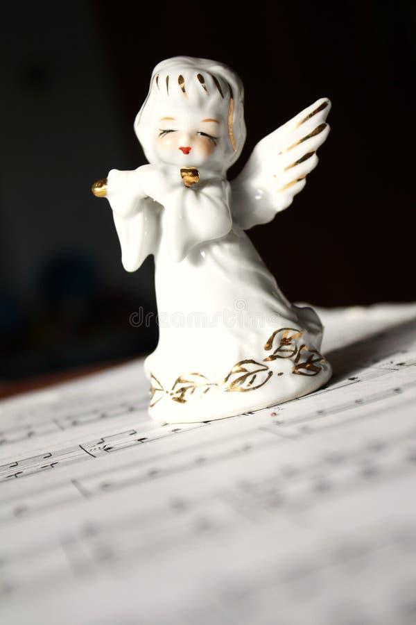 天使圣诞节长笛使用 图库摄影