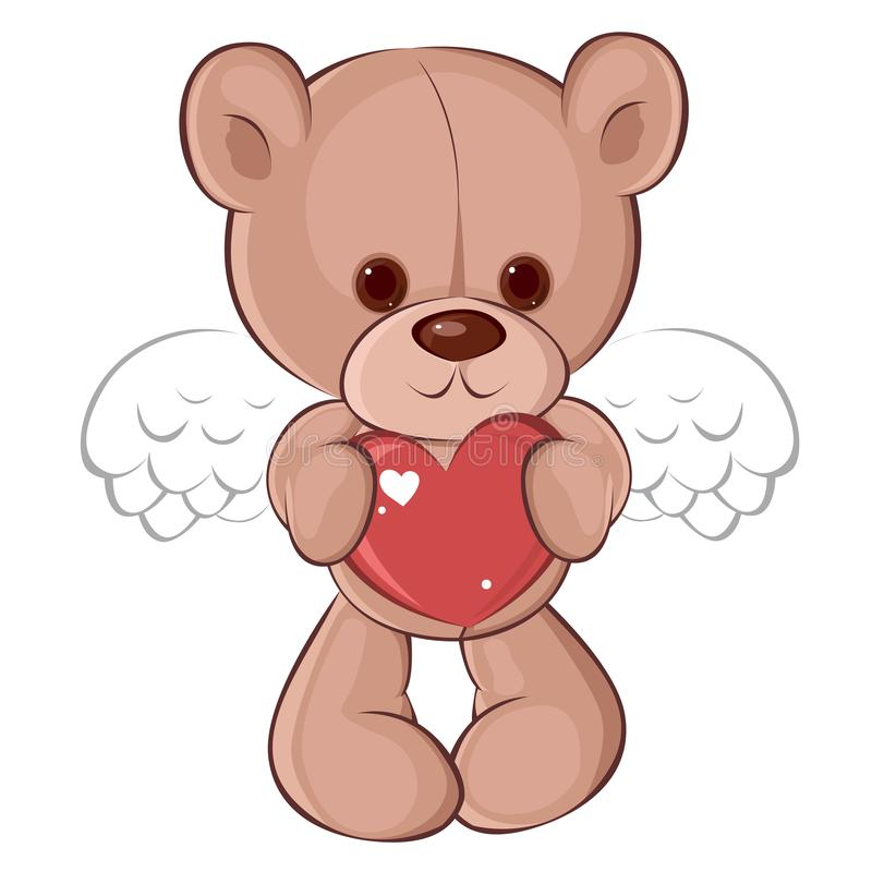 天使在爱的玩具熊对与心脏的情人节 儿童` s字符 向量例证