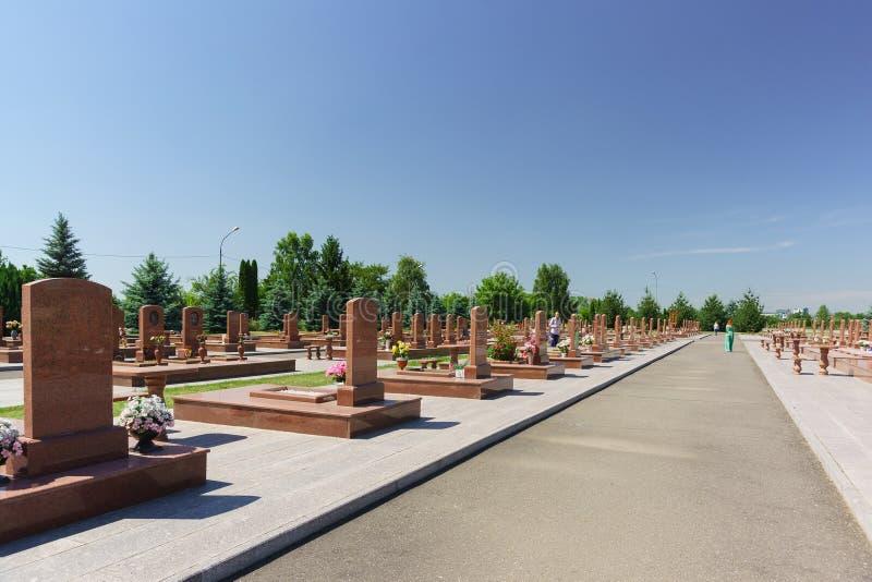 天使城市—266人被埋葬的纪念公墓谁9月1日至3日死了在恐怖袭击期间在别斯兰 库存图片