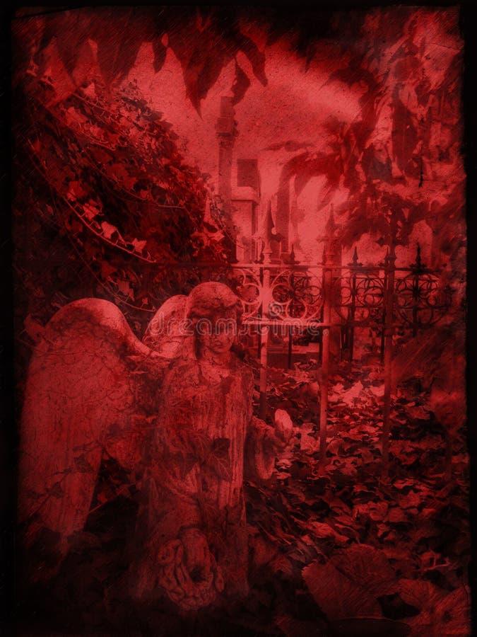 天使墓地老雕塑 库存例证