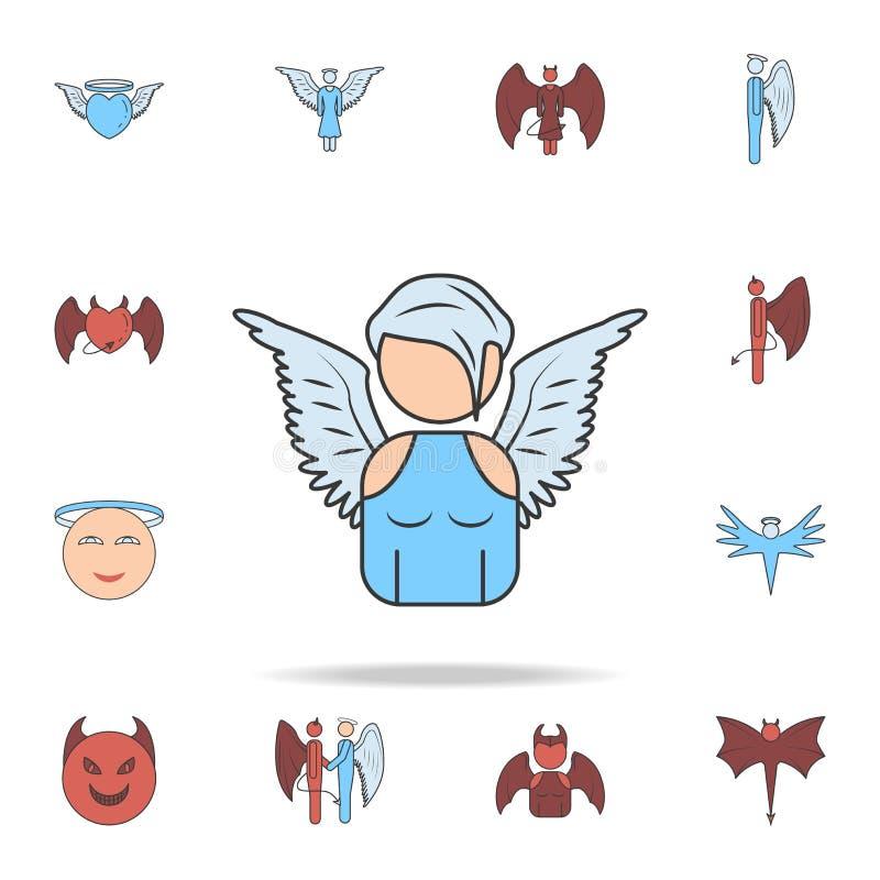 天使女孩彩色场概述象的具体化 详细的套天使和邪魔象 优质图形设计 一  库存例证