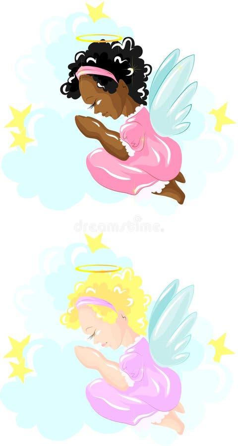天使女孩祈祷的一点 向量例证