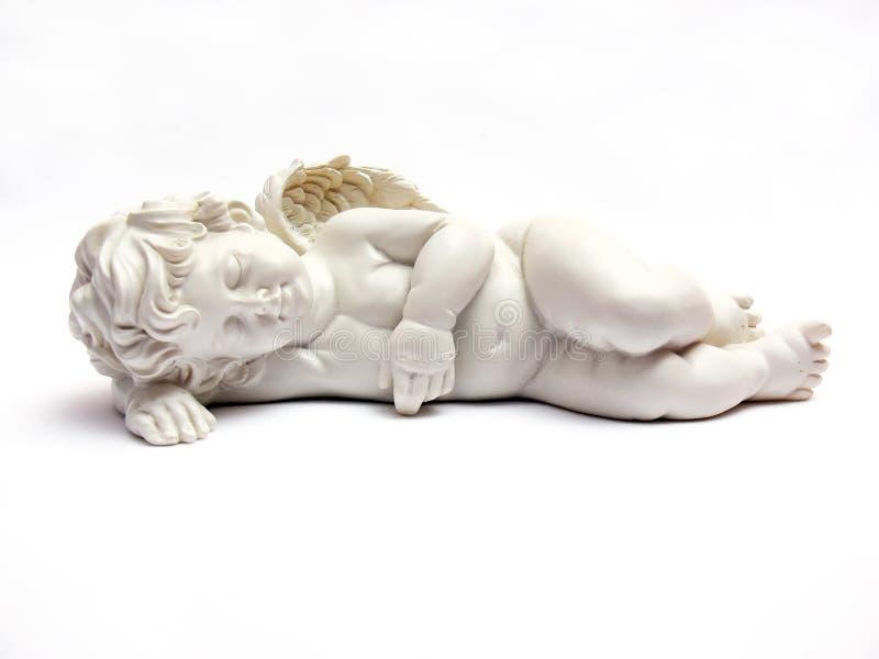 天使小雕象休眠 库存图片