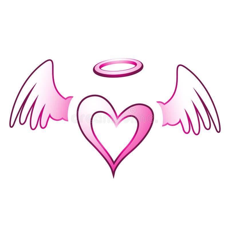 天使心脏和翼 向量例证