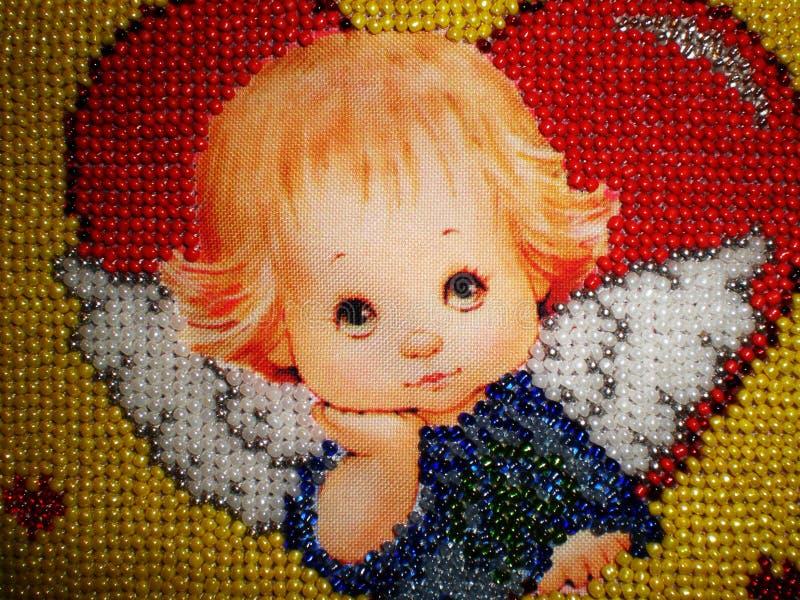 天使成串珠状刺绣 免版税图库摄影