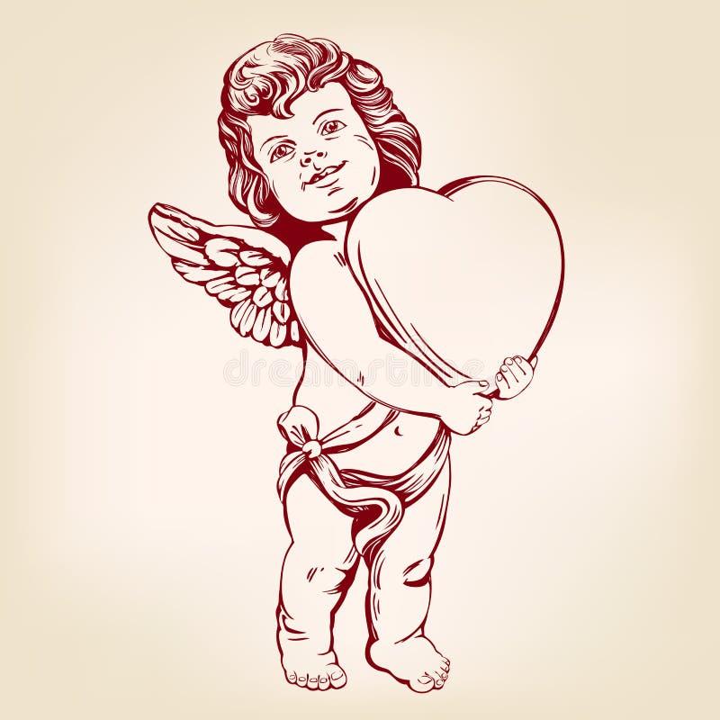 天使或丘比特,小婴孩拿着心脏,情人节,爱,现实贺卡手拉的传染媒介的例证 向量例证