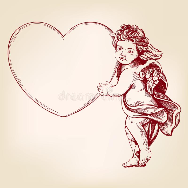 天使或丘比特,小婴孩拿着心脏,情人节,爱,现实贺卡手拉的传染媒介的例证 库存例证