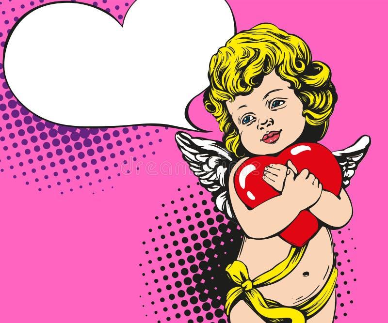 天使或丘比特,小婴孩拿着心脏,情人节,爱,贺卡手拉的传染媒介例证流行艺术 向量例证