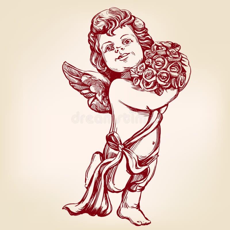 天使或丘比特,小婴孩拿着花花束,贺卡手拉的传染媒介例证现实剪影 皇族释放例证