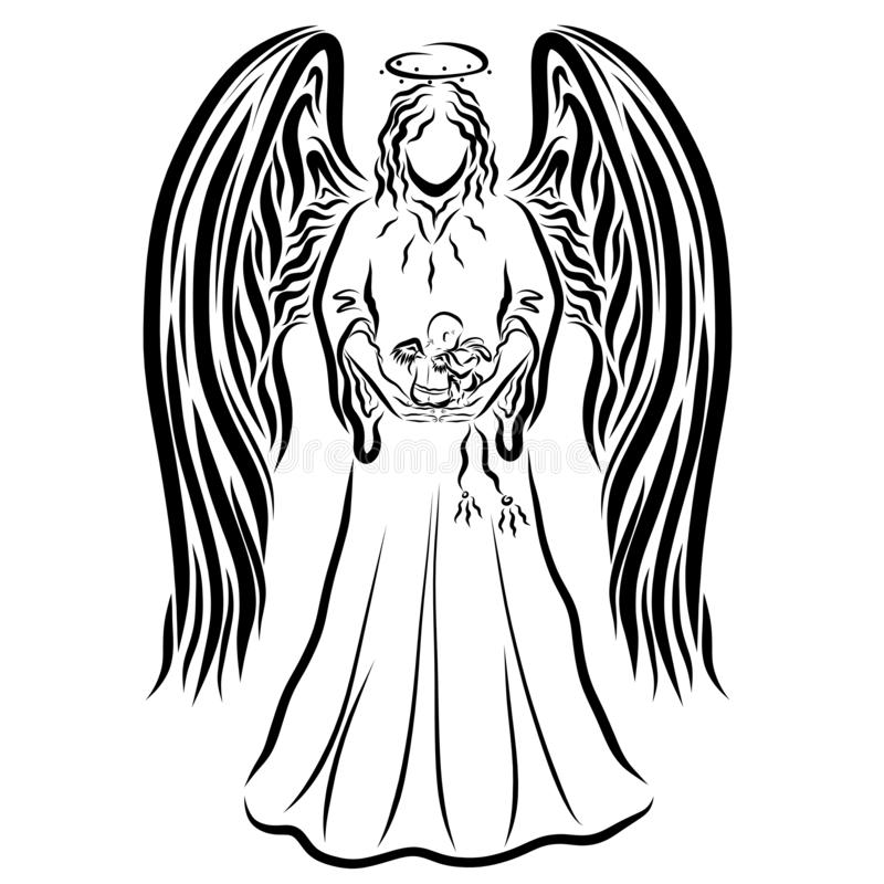 天使抱她的胳膊的一个小孩子,婴孩食用玩具野兔 向量例证
