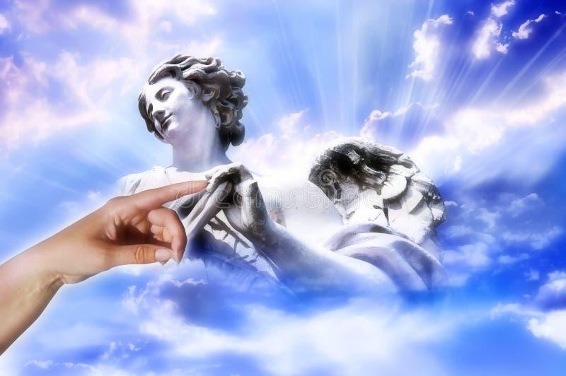 天使接触 库存照片