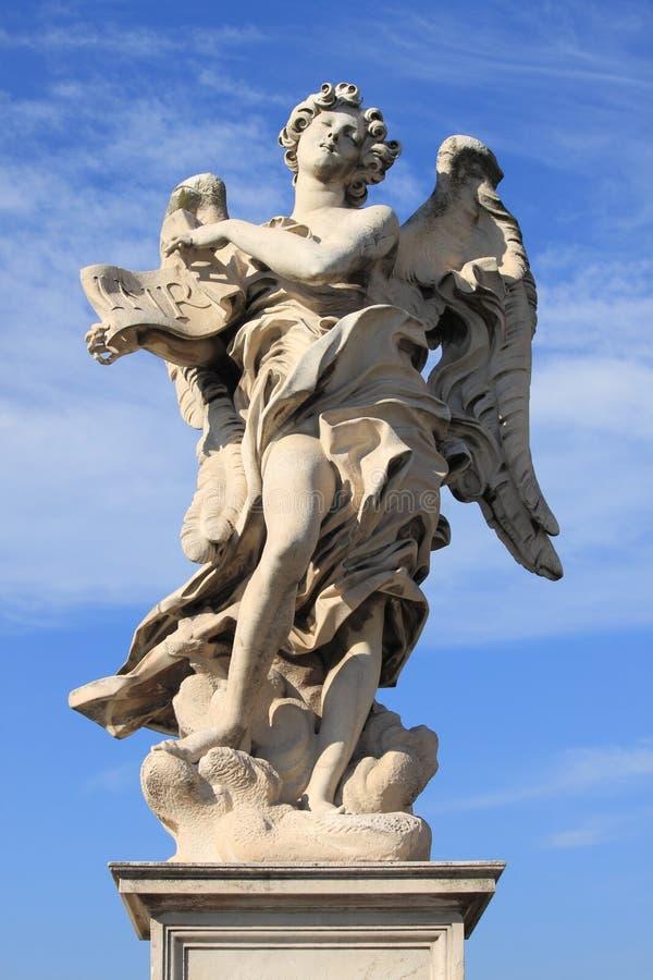 天使桥梁意大利罗马圣徒雕象 库存照片