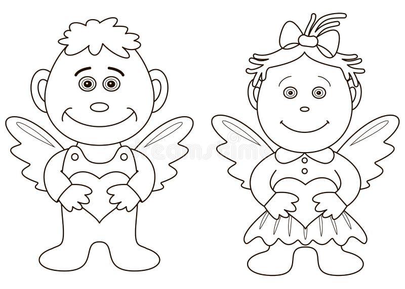 天使男孩塑造外形女孩重点 库存例证