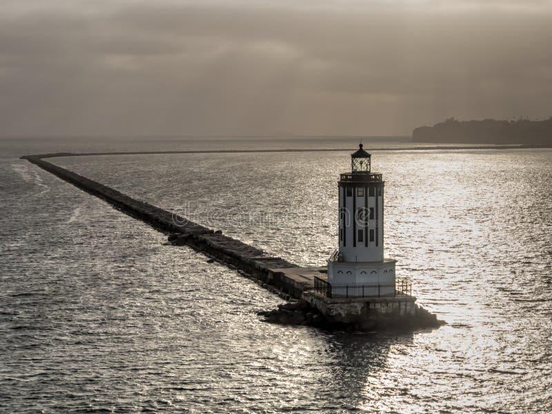 天使的在圣佩德罗火山口岸,加利福尼亚的门灯塔 免版税图库摄影