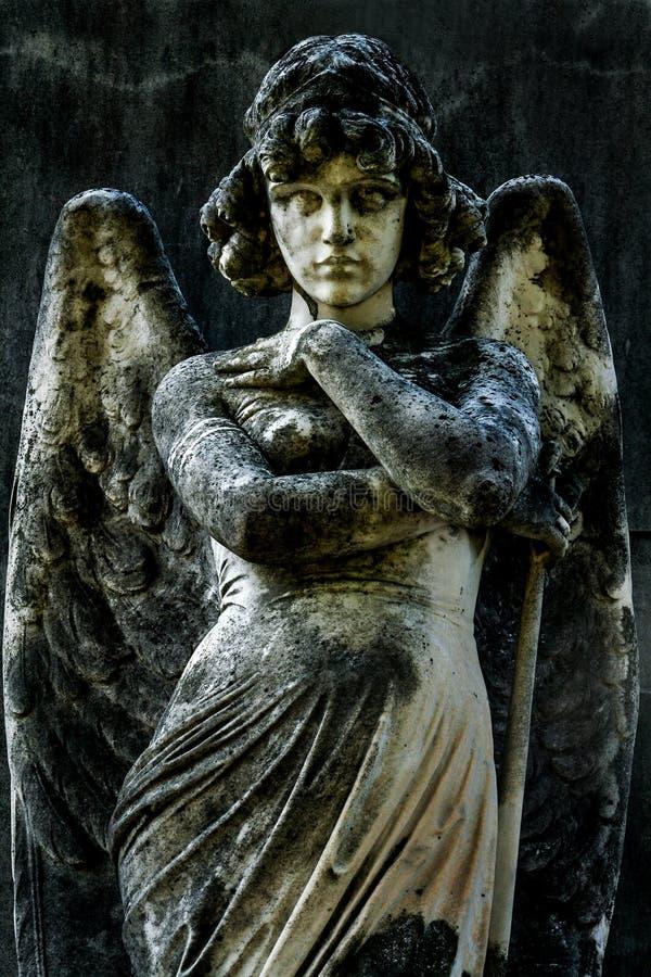 天使的罗马石雕象 图库摄影