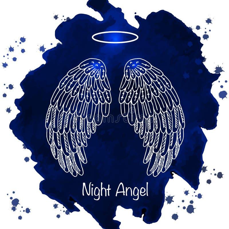 天使的翼和雨云在水彩背景 皇族释放例证
