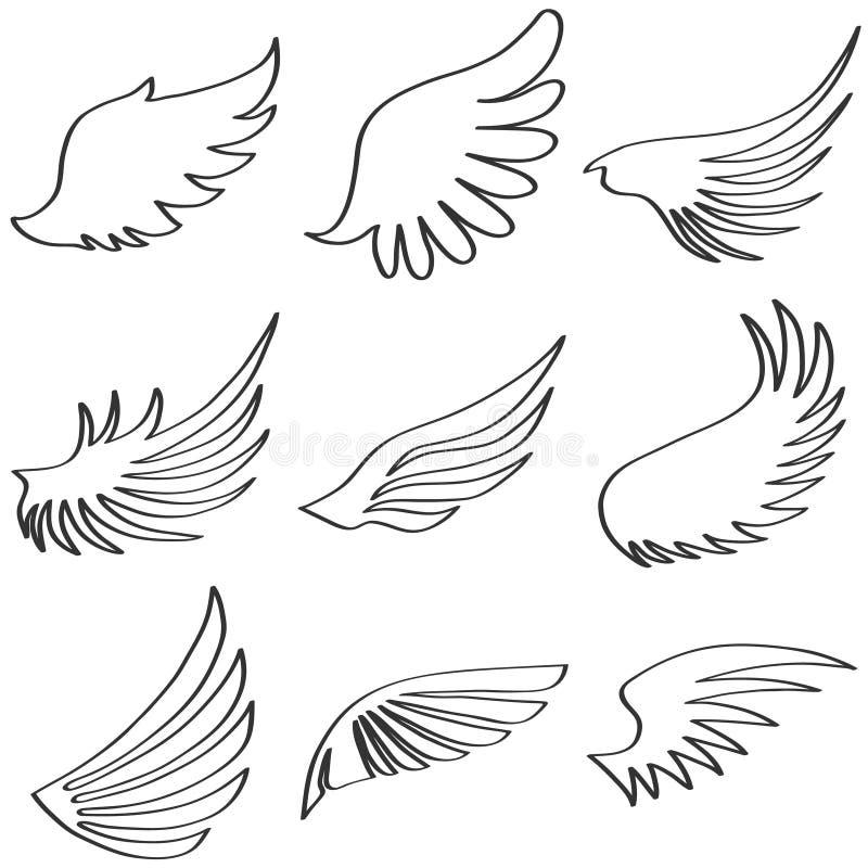 天使的翼, ange的黑白翼 库存例证