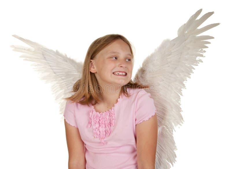 天使神仙的女孩飞过年轻人 库存图片